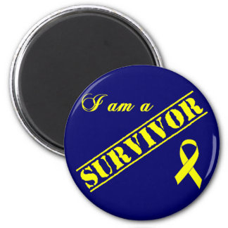 I am a Survivor - Yellow Ribbon 2 Inch Round Magnet