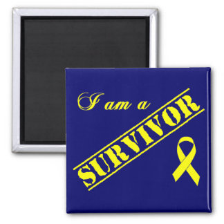 I am a Survivor - Yellow Ribbon 2 Inch Square Magnet