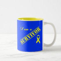 I am a Survivor - Yellow Ribbon Two-Tone Coffee Mug