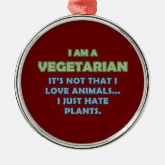 I am a Vegetarian Metal Ornament