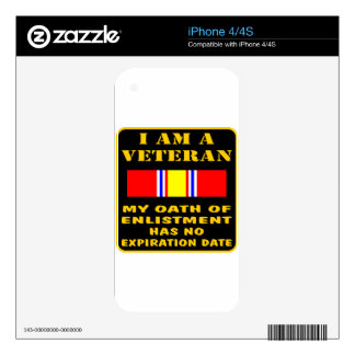 I Am A Veteran My Oath Of Enlistment Has No Expire Decal For The iPhone 4S