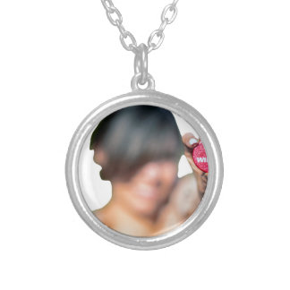 I am a winner funny girl sign silver plated necklace
