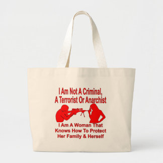 I Am A Women Who Can Protect Her Family & Herself Large Tote Bag