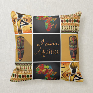I Am Africa Pattern Print Collage Throw Pillow