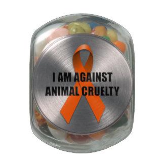 I Am Against Animal Cruelty Glass Candy Jar