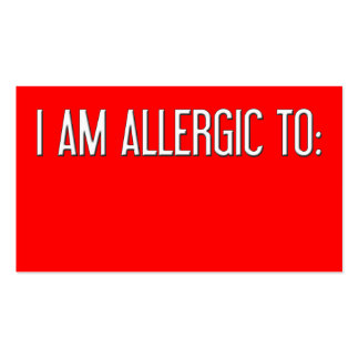 """I AM ALLERGIC TO"" BUSINESS CARD"
