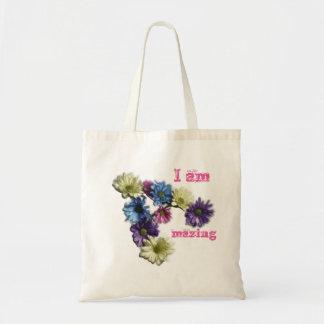 I am Amazing flower affirmation Tote Bag