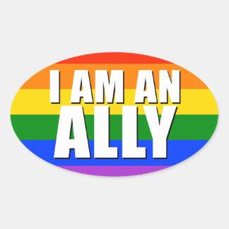 I Am An Ally Oval Sticker