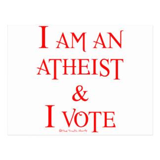 I am an atheist and I vote Postcard