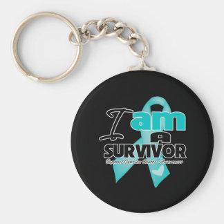 I am an Ovarian Cancer Survivor Keychain