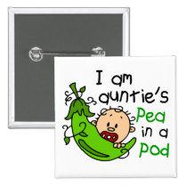 I Am Auntie's Pea In A Pod 2 Inch Square Button