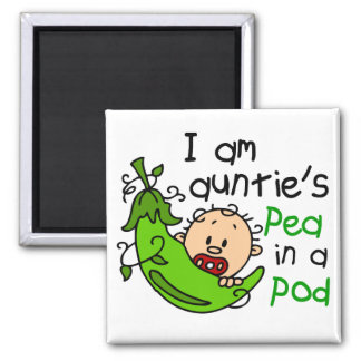 I Am Auntie's Pea In A Pod 2 Inch Square Magnet