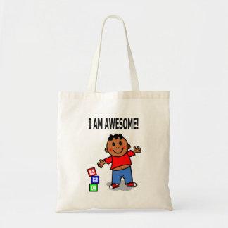 I AM AWESOME! Cute Cartoon Boy Tote Bag