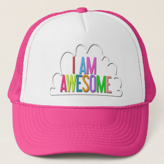 """""""I Am Awesome"""" Hot Pink Trucker Hat"""