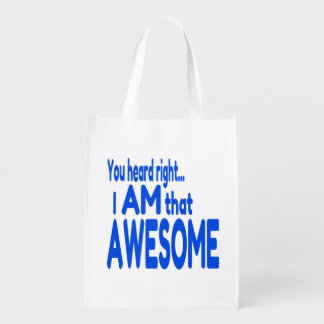 I am Awesome in Blue Market Tote