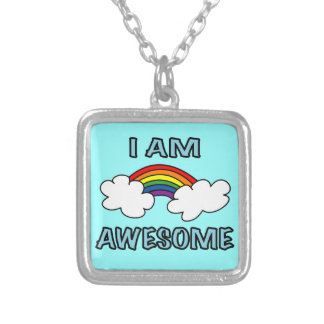 """I am Awesome"" Rainbow Silver Plated Necklace"