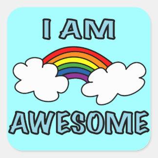 """I am Awesome"" Rainbow Square Sticker"