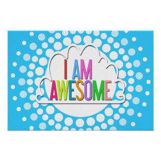 """I AM AWESOME"" Retro Rainbow Graphic Poster"