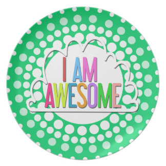 """I AM AWESOME"" Typography Art Decorative Plate"