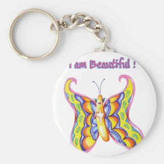 I am Beautiful ! Basic Round Button Keychain