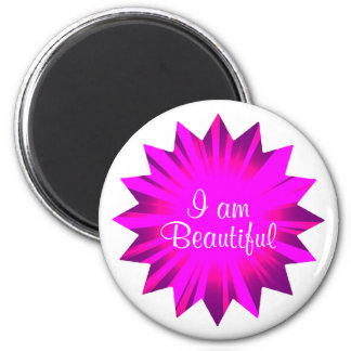 I am beautiful | positive affirmation 2 inch round magnet