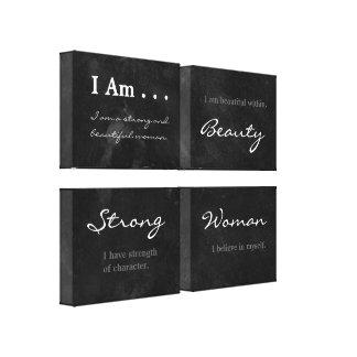 I Am Beautiful Strong Woman Blackboard Affirmation Canvas Print