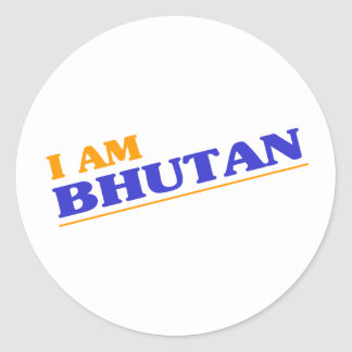 I am Bhutan Round Stickers