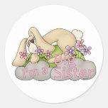 I am Big Sister Bunny T-shirt Gift Design Classic Round Sticker