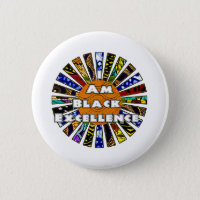 I am Black Excellence African Fabric Collage Button