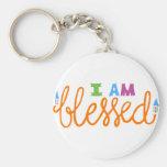 I Am Blessed (Original Typography) Basic Round Button Keychain