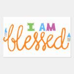 I Am Blessed (Original Typography) Rectangular Sticker