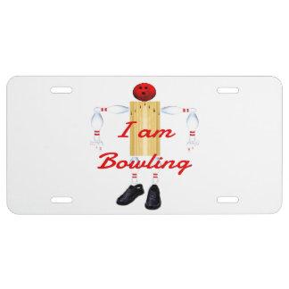 I am Bowling Bowler Cartoon License Plate