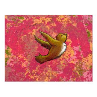 I am Brave - beautiful cute fun bird w/ heart Post Cards