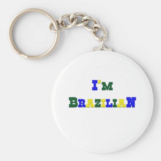 I am Brazilian Basic Round Button Keychain