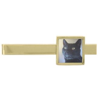 I Am Cat Gold Finish Tie Bar