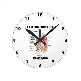 I Am Comfortable In My Skin (Dermal Layers) Round Clocks