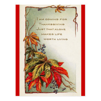 I Am Coming - Thanksgiving Post Card
