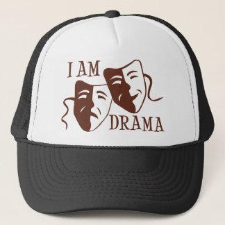 I am drama brown trucker hat