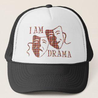 I am drama red plaid trucker hat
