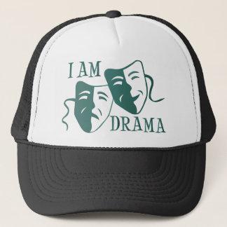 I am drama teal gradient trucker hat