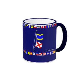 "I am drifting. Nautical Signal Flag Hoist ""DV"" Ringer Coffee Mug"