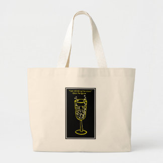 I am drinking the stars champagne print in yellow jumbo tote bag