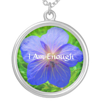 I AM Enough Necklace in Blue Flower
