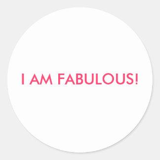 I AM FABULOUS! ROUND STICKERS