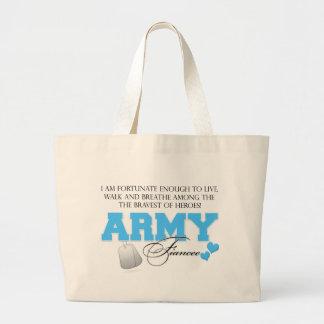 I am Fortunate - Army Fiancee Large Tote Bag