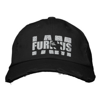 I AM FURIOUS White Logo Distressed Cap Embroidered Hat