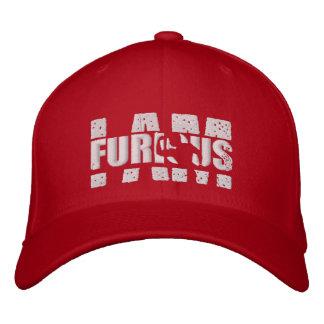 I AM FURIOUS White Logo Wool Stretch Red Cap