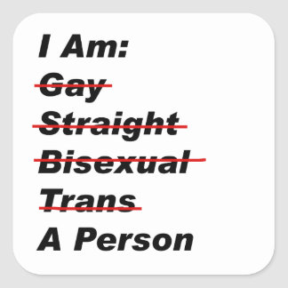 I Am Gay, Straight, Bisexual, Trans, A Person Square Sticker