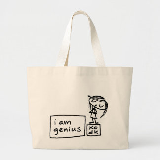 i am genius large tote bag