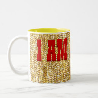 I AM GOLDEN - Gold Chains -Bright Yellow Statement Two-Tone Coffee Mug